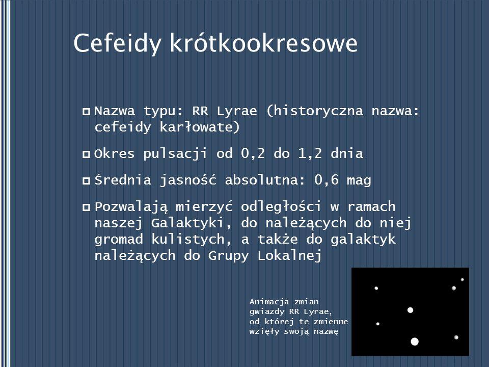 Cefeidy krótkookresowe Nazwa typu: RR Lyrae (historyczna nazwa: cefeidy karłowate) Okres pulsacji od 0,2 do 1,2 dnia Średnia jasność absolutna: 0,6 ma