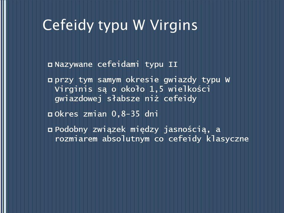 Cefeidy typu W Virgins Nazywane cefeidami typu II przy tym samym okresie gwiazdy typu W Virginis są o około 1,5 wielkości gwiazdowej słabsze niż cefei