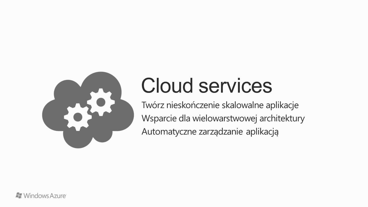 Cloud services Twórz nieskończenie skalowalne aplikacje Wsparcie dla wielowarstwowej architektury Automatyczne zarządzanie aplikacją