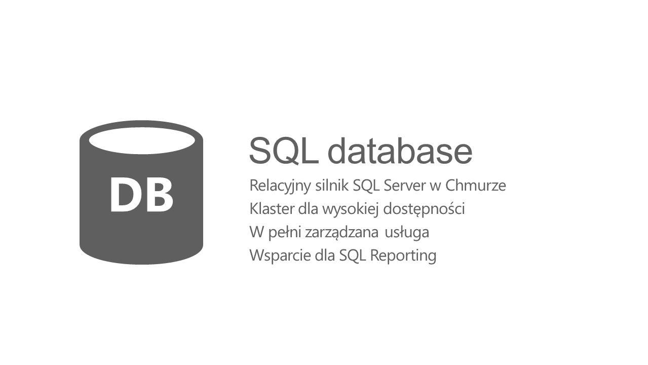 SQL database Relacyjny silnik SQL Server w Chmurze Klaster dla wysokiej dostępności W pełni zarządzana usługa Wsparcie dla SQL Reporting