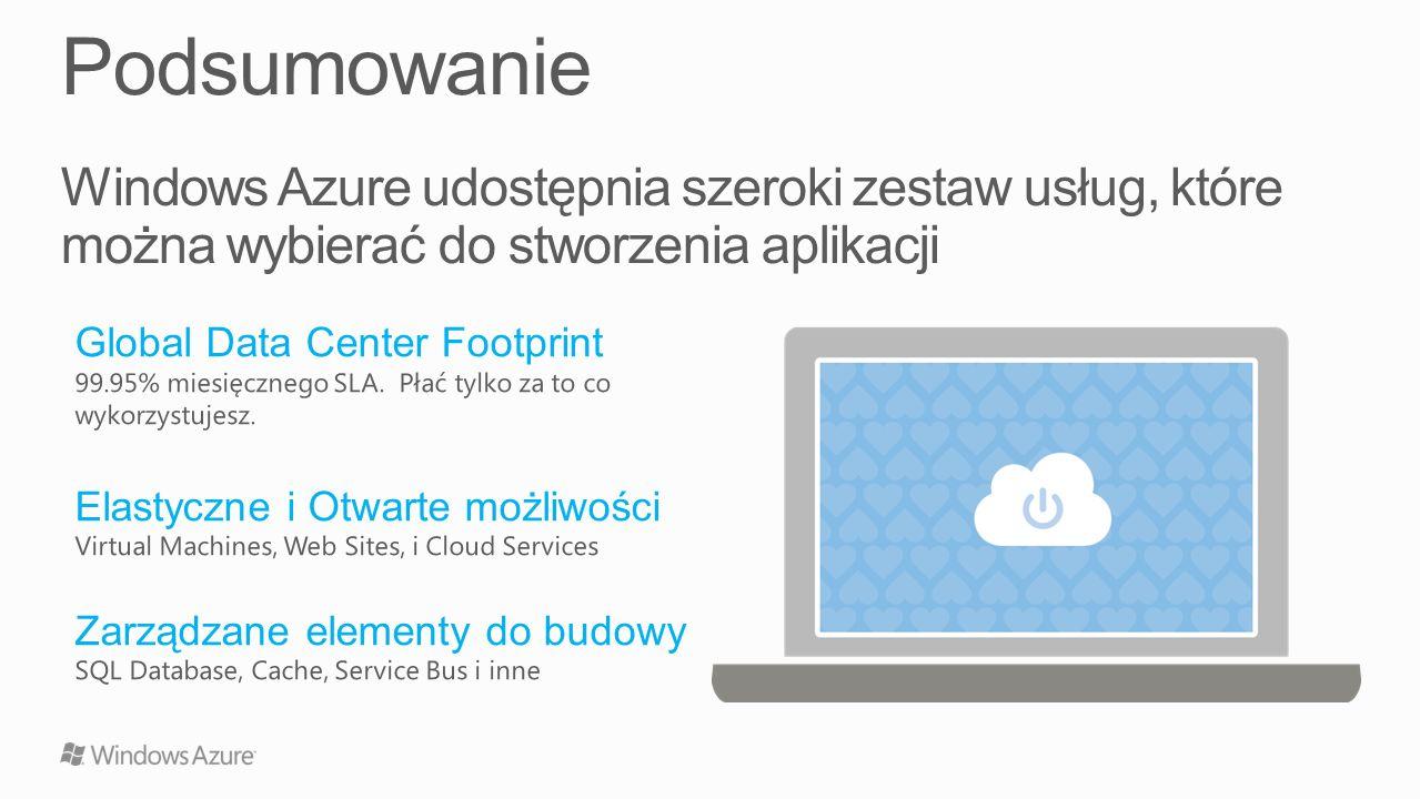Windows Azure udostępnia szeroki zestaw usług, które można wybierać do stworzenia aplikacji Global Data Center Footprint 99.95% miesięcznego SLA. Płać