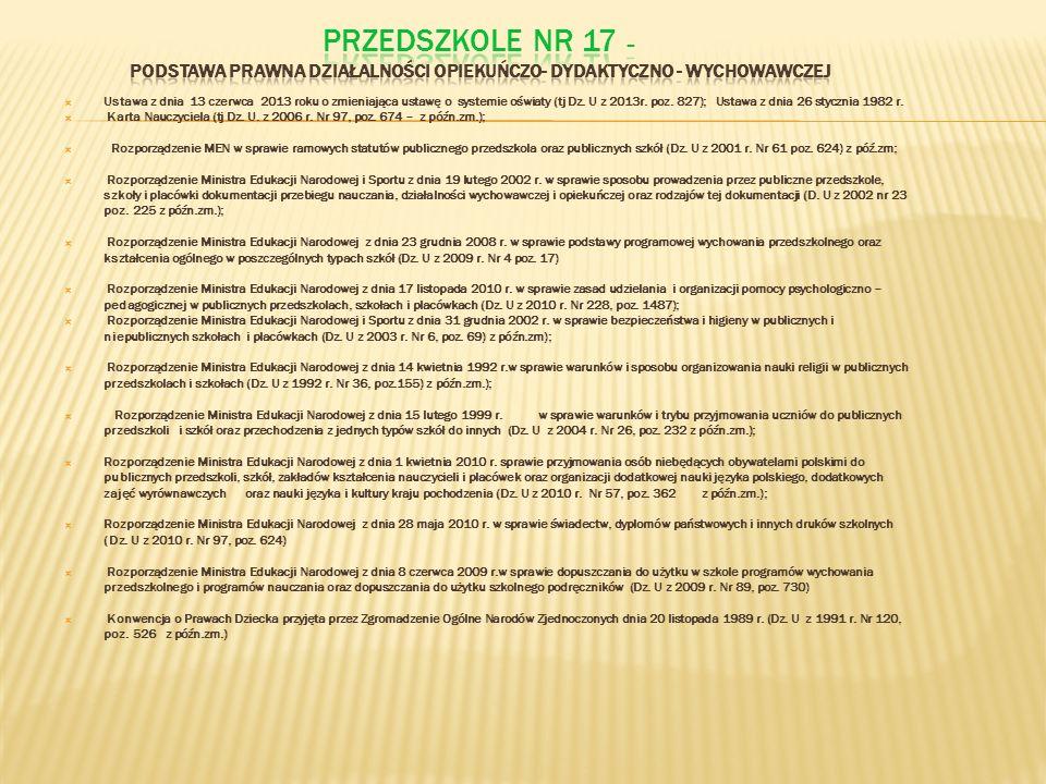 Ustawa z dnia 13 czerwca 2013 roku o zmieniająca ustawę o systemie oświaty (tj Dz. U z 2013r. poz. 827); Ustawa z dnia 26 stycznia 1982 r. Karta Naucz