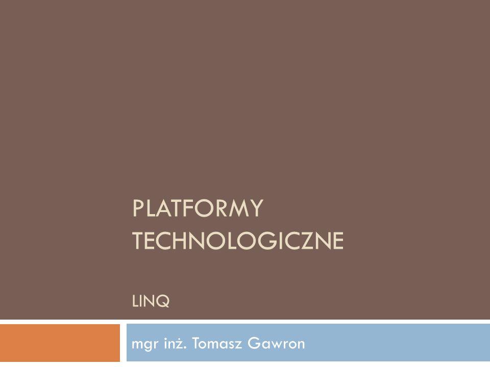 LINQ to DataSet Platformy Technologiczne 2012 12 DataSet w pełni zintegrowany z LINQ Działa dla DataSet typowanego i nietypowanego Łączenie, grupowanie danych w DataTable Tworzenie widoków na wielu DataTable DataSet ds = new DataSet(); FillTheDataSet(ds); DataTable dtPeople = ds.Tables[ People ]; IEnumerable query = from people In dtPeople.AsEnumerable() select people; foreach (DataRow p in query) Response.Write(p.Field (FirstName ));