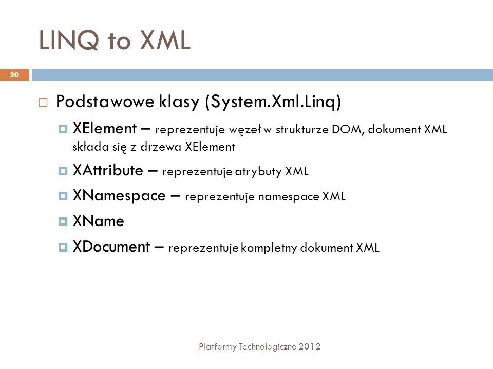 LINQ to XML Platformy Technologiczne 2012 20 Podstawowe klasy (System.Xml.Linq) XElement – reprezentuje węzeł w strukturze DOM, dokument XML składa się z drzewa XElement XAttribute – reprezentuje atrybuty XML XNamespace – reprezentuje namespace XML XName XDocument – reprezentuje kompletny dokument XML