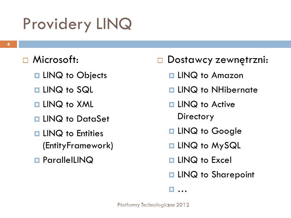 Providery LINQ Microsoft: LINQ to Objects LINQ to SQL LINQ to XML LINQ to DataSet LINQ to Entities (EntityFramework) ParallelLINQ Dostawcy zewnętrzni:
