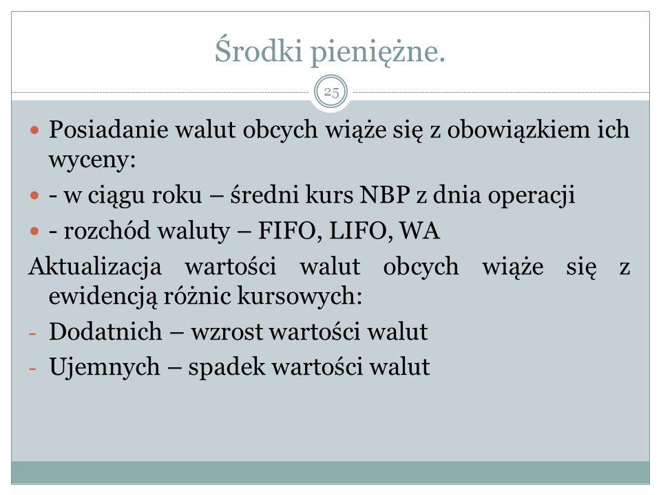 Środki pieniężne. Posiadanie walut obcych wiąże się z obowiązkiem ich wyceny: - w ciągu roku – średni kurs NBP z dnia operacji - rozchód waluty – FIFO