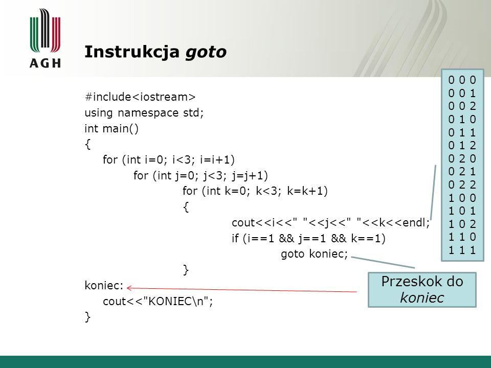 Instrukcja goto #include using namespace std; int main() { for (int i=0; i<3; i=i+1) for (int j=0; j<3; j=j+1) for (int k=0; k<3; k=k+1) { cout<<i<<