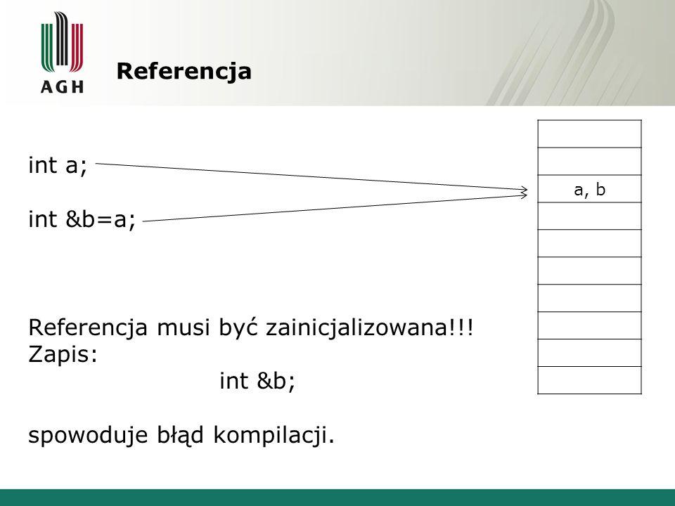 Referencja a, b int a; int &b=a; Referencja musi być zainicjalizowana!!! Zapis: int &b; spowoduje błąd kompilacji.