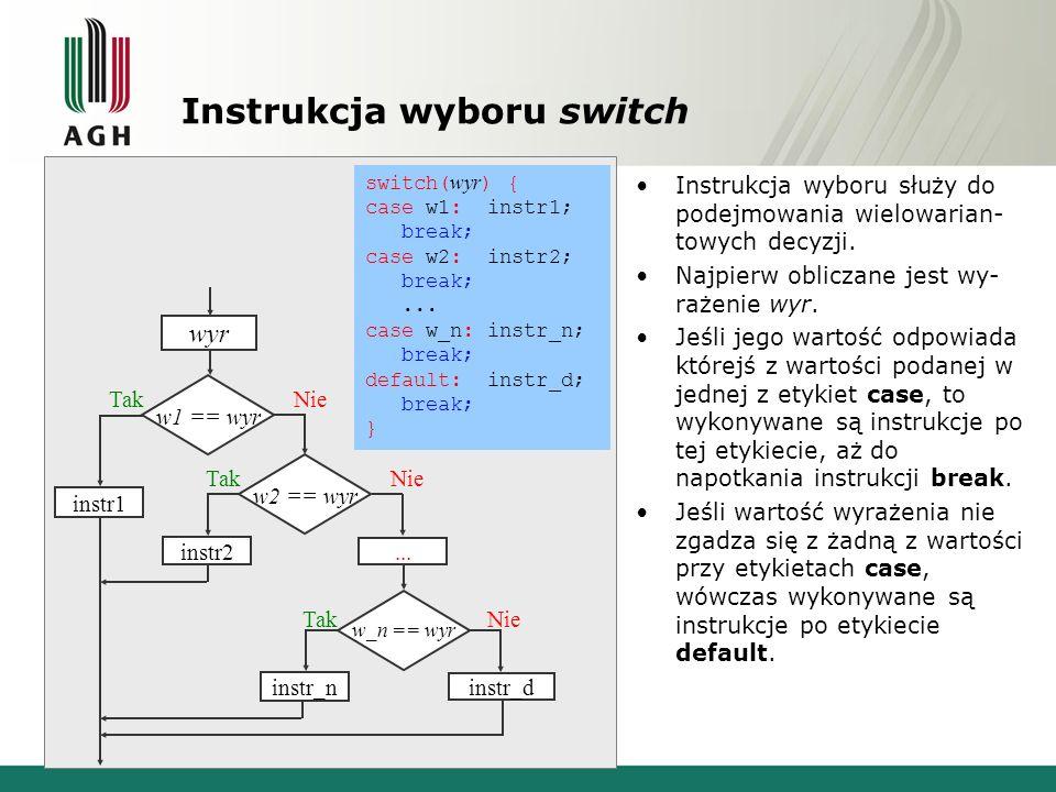 Instrukcja wyboru switch Instrukcja wyboru służy do podejmowania wielowarian- towych decyzji. Najpierw obliczane jest wy- rażenie wyr. Jeśli jego wart