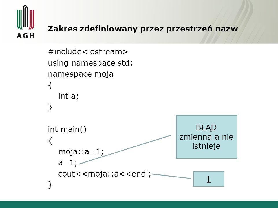 Zakres zdefiniowany przez przestrzeń nazw #include using namespace std; namespace moja { int a; } int main() { moja::a=1; a=1; cout<<moja::a<<endl; }
