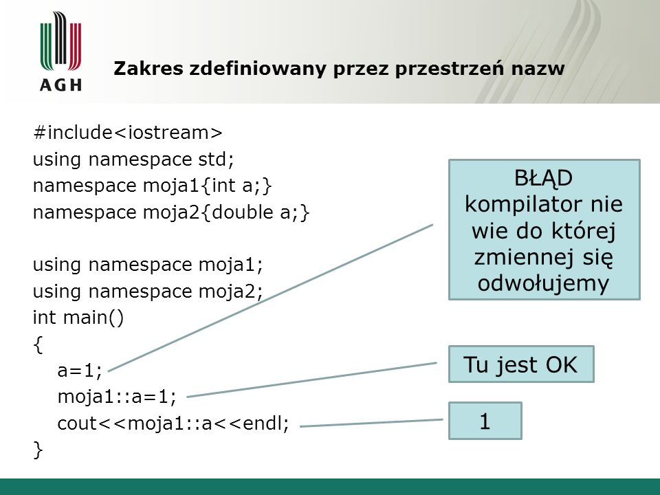 Zakres zdefiniowany przez przestrzeń nazw #include using namespace std; namespace moja1{int a;} namespace moja2{double a;} using namespace moja1; usin