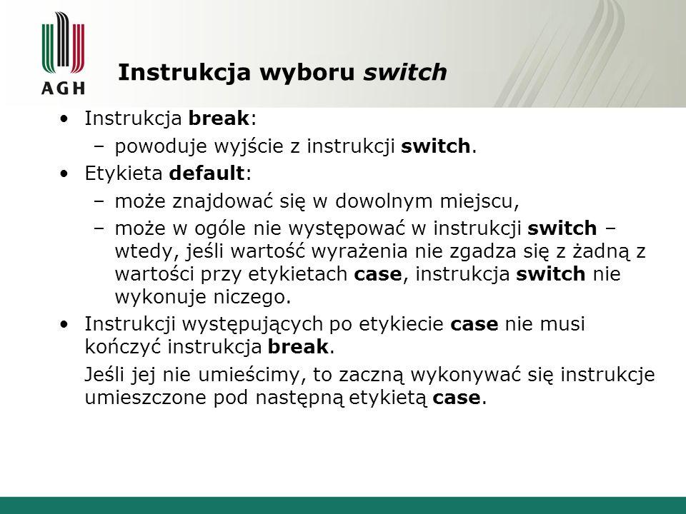 Instrukcja wyboru switch Instrukcja break: –powoduje wyjście z instrukcji switch. Etykieta default: –może znajdować się w dowolnym miejscu, –może w og