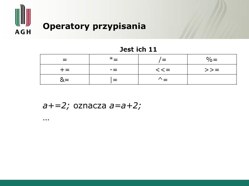 Operatory przypisania Jest ich 11 =*=/=%= +=-=<<=>>= &=|=^= a+=2; oznacza a=a+2; …