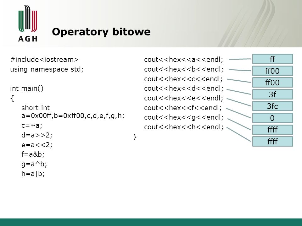 Operatory bitowe #include using namespace std; int main() { short int a=0x00ff,b=0xff00,c,d,e,f,g,h; c=~a; d=a>>2; e=a<<2; f=a&b; g=a^b; h=a|b; cout<<
