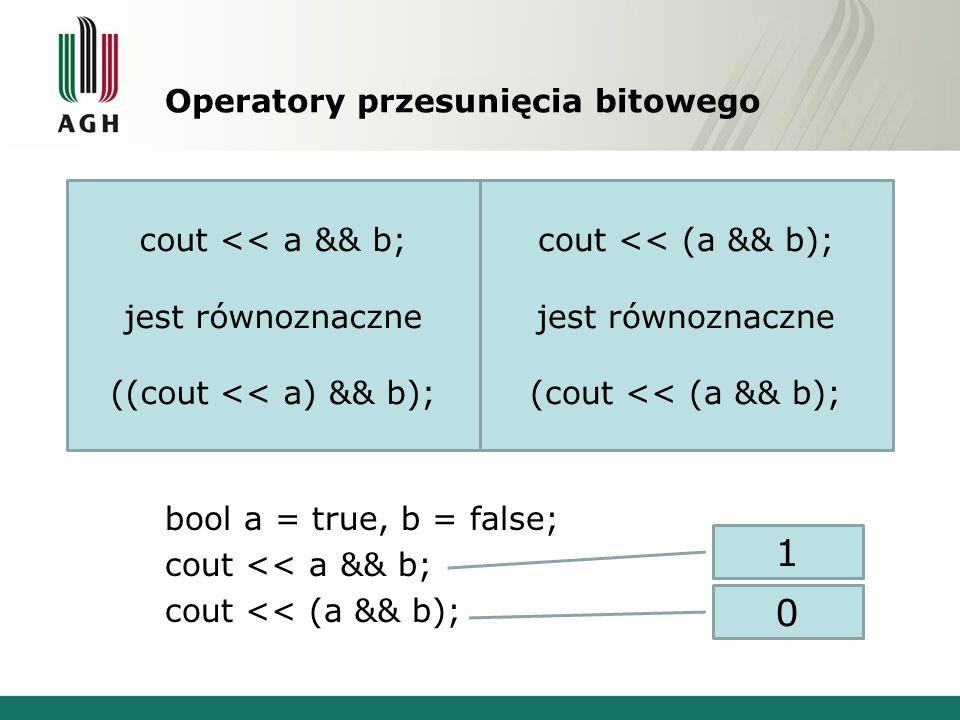 Operatory przesunięcia bitowego Operatory > zostały przeładowane w ten sposób, że odpowiadają za wstawianie i wyjmowanie ze strumienia. int a; cin>>a;