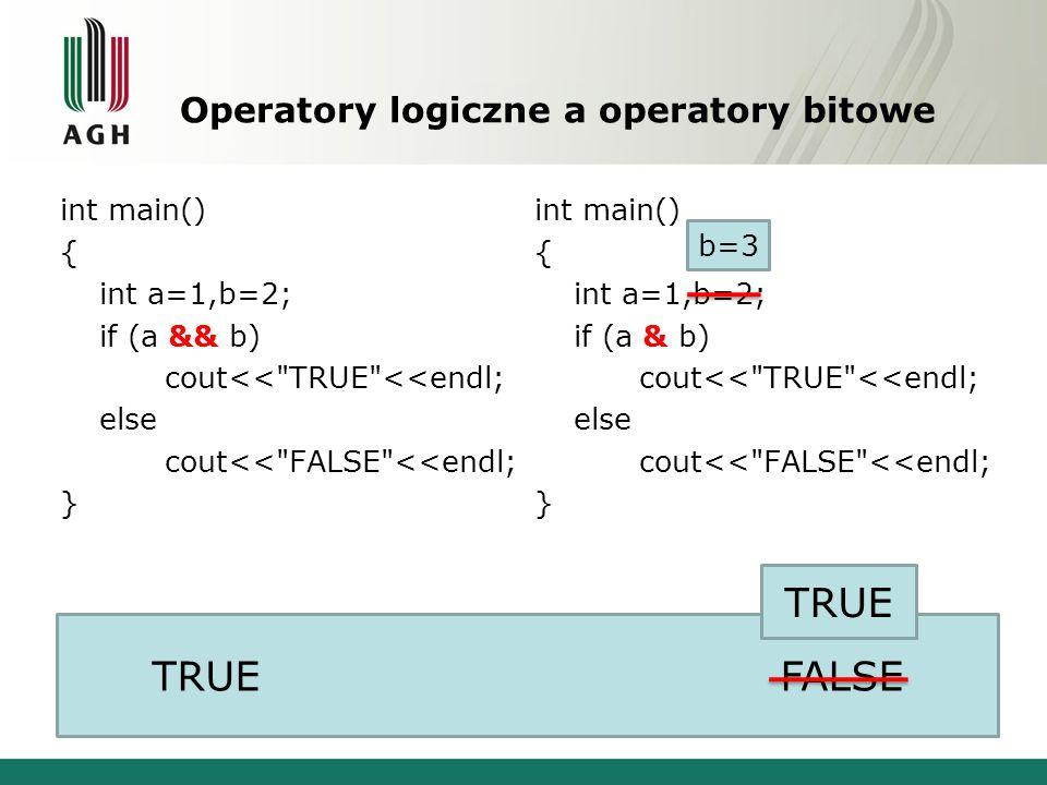 Operatory logiczne a operatory bitowe int main() { int a=1,b=2; if (a && b) cout<<
