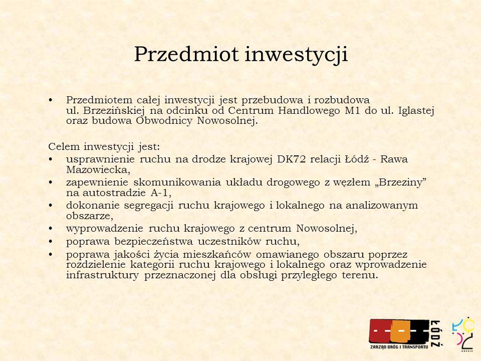 Projektowane parametry techniczne Wzdłuż ul.