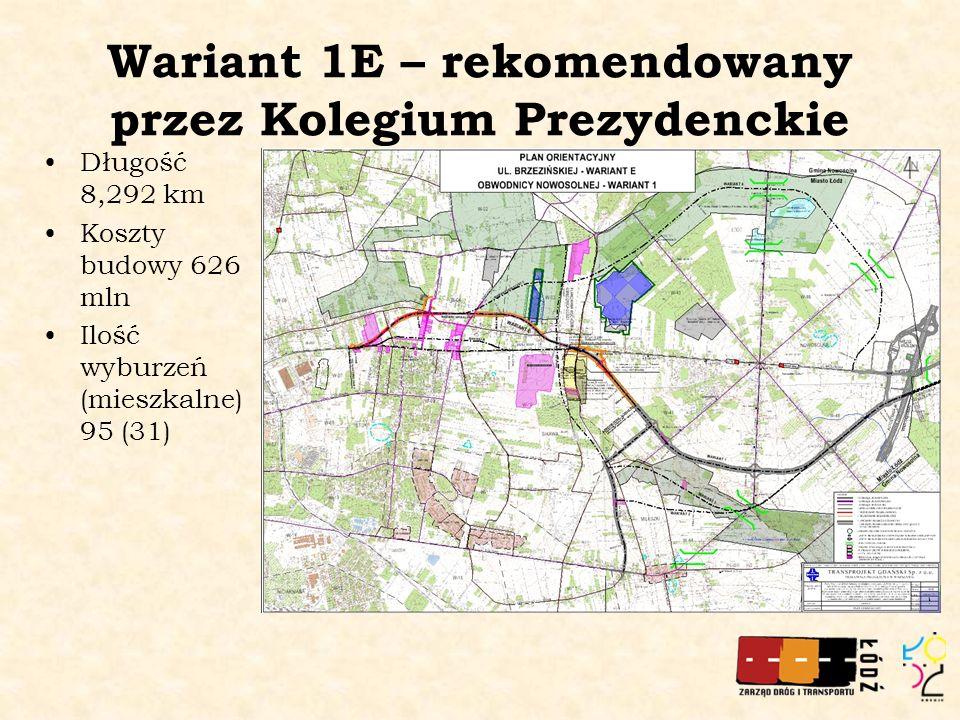 Wariant 1E – rekomendowany przez Kolegium Prezydenckie Długość 8,292 km Koszty budowy 626 mln Ilość wyburzeń (mieszkalne) 95 (31)
