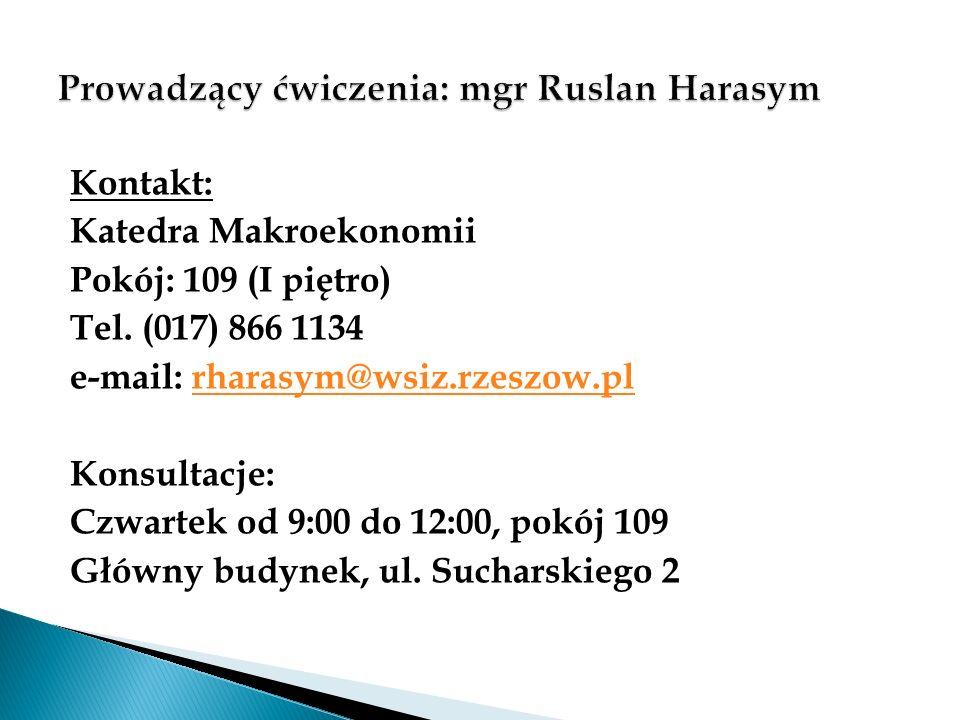Kontakt: Katedra Makroekonomii Pokój: 109 (I piętro) Tel. (017) 866 1134 e-mail: rharasym@wsiz.rzeszow.plrharasym@wsiz.rzeszow.pl Konsultacje: Czwarte