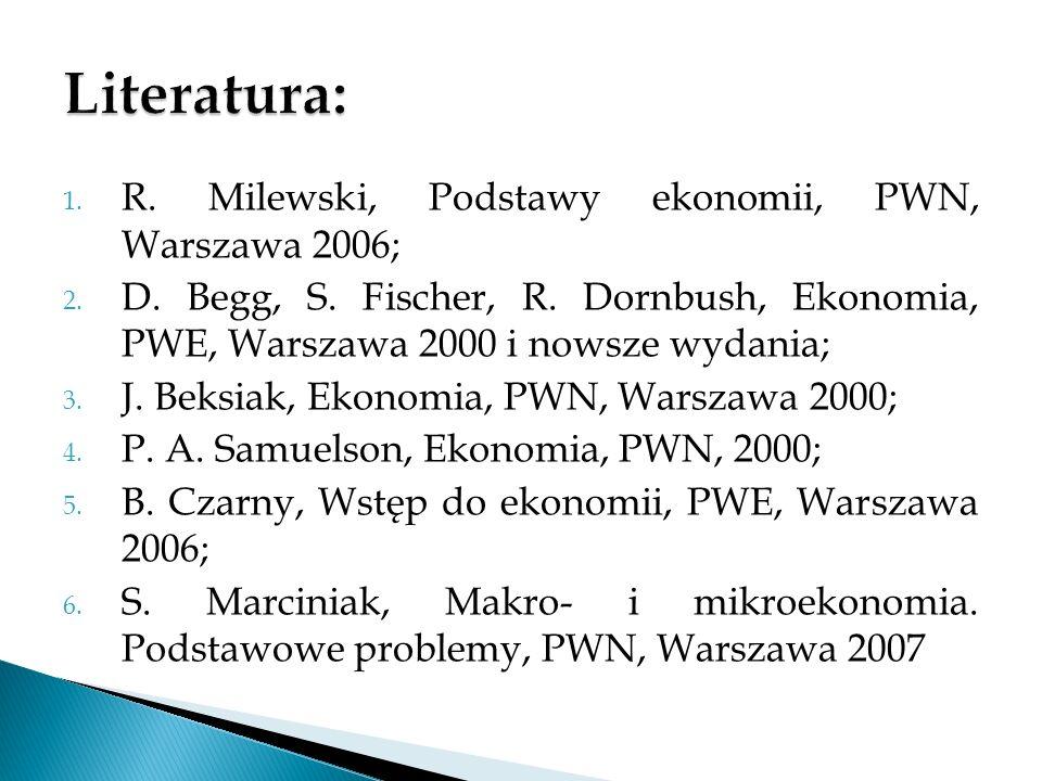 1. R. Milewski, Podstawy ekonomii, PWN, Warszawa 2006; 2. D. Begg, S. Fischer, R. Dornbush, Ekonomia, PWE, Warszawa 2000 i nowsze wydania; 3. J. Beksi