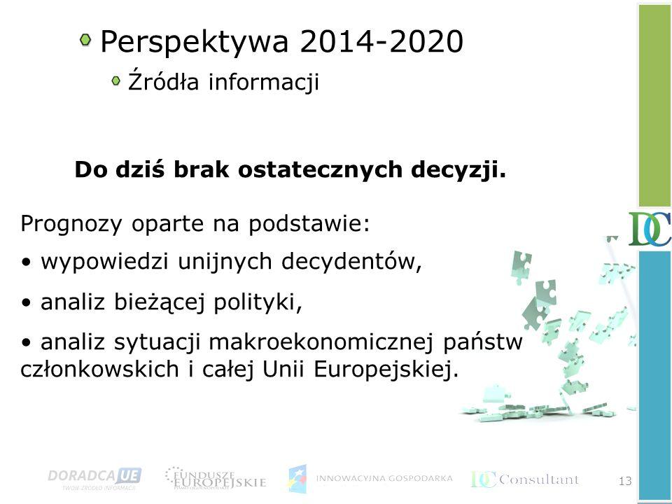 13 Perspektywa 2014-2020 Źródła informacji Do dziś brak ostatecznych decyzji.