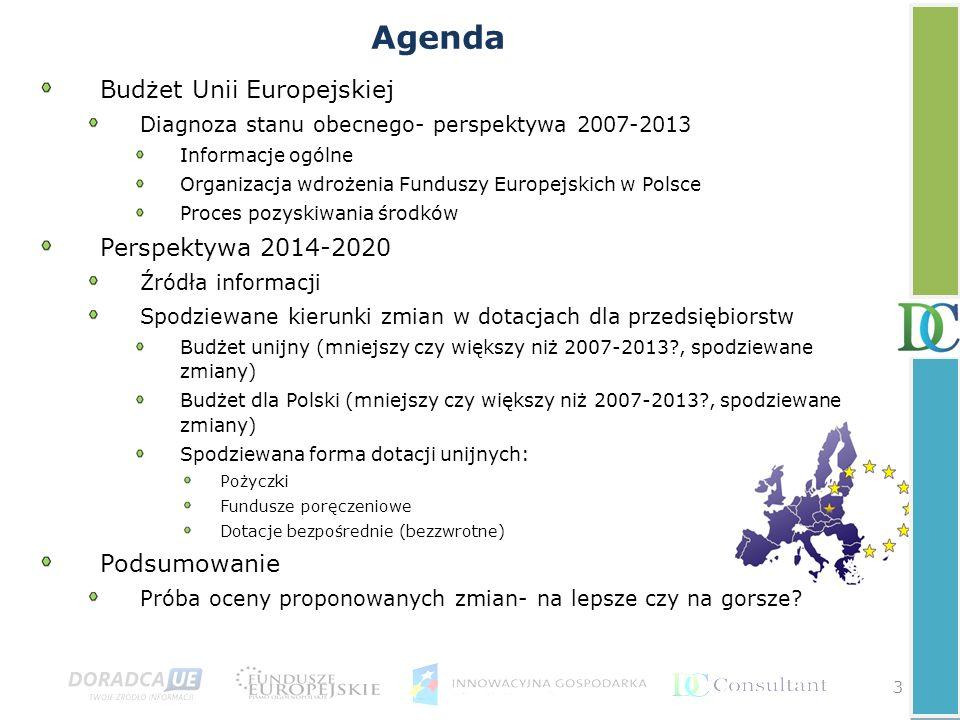 Agenda Budżet Unii Europejskiej Diagnoza stanu obecnego- perspektywa 2007-2013 Informacje ogólne Organizacja wdrożenia Funduszy Europejskich w Polsce Proces pozyskiwania środków Perspektywa 2014-2020 Źródła informacji Spodziewane kierunki zmian w dotacjach dla przedsiębiorstw Budżet unijny (mniejszy czy większy niż 2007-2013?, spodziewane zmiany) Budżet dla Polski (mniejszy czy większy niż 2007-2013?, spodziewane zmiany) Spodziewana forma dotacji unijnych: Pożyczki Fundusze poręczeniowe Dotacje bezpośrednie (bezzwrotne) Podsumowanie Próba oceny proponowanych zmian- na lepsze czy na gorsze.