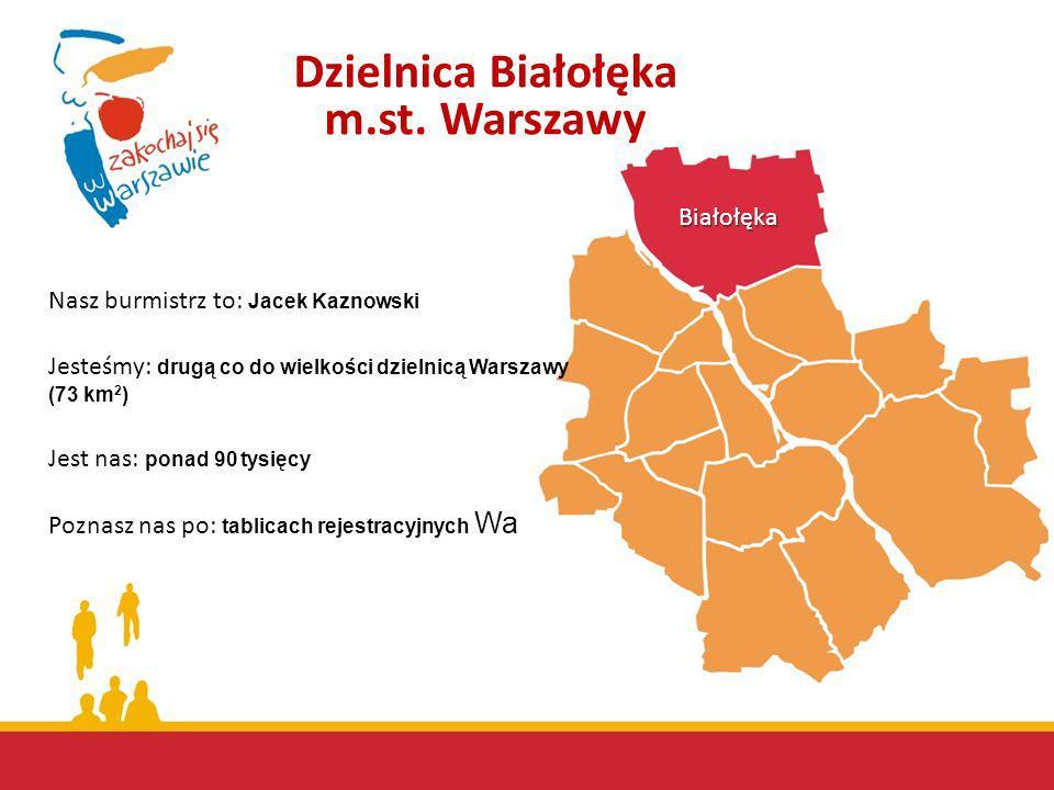 Białołęka Jesteśmy: drugą co do wielkości dzielnicą Warszawy (73 km 2 ) Jest nas: ponad 90 tysięcy Poznasz nas po: tablicach rejestracyjnych Wa Nasz b