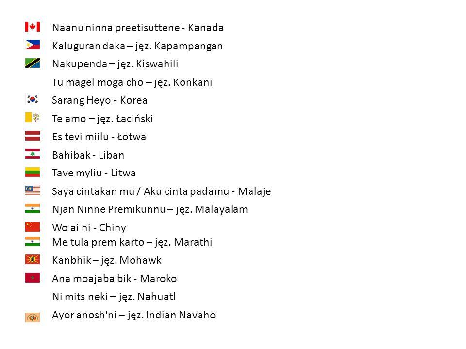 Naanu ninna preetisuttene - Kanada Kaluguran daka – jęz. Kapampangan Nakupenda – jęz. Kiswahili Tu magel moga cho – jęz. Konkani Sarang Heyo - Korea T