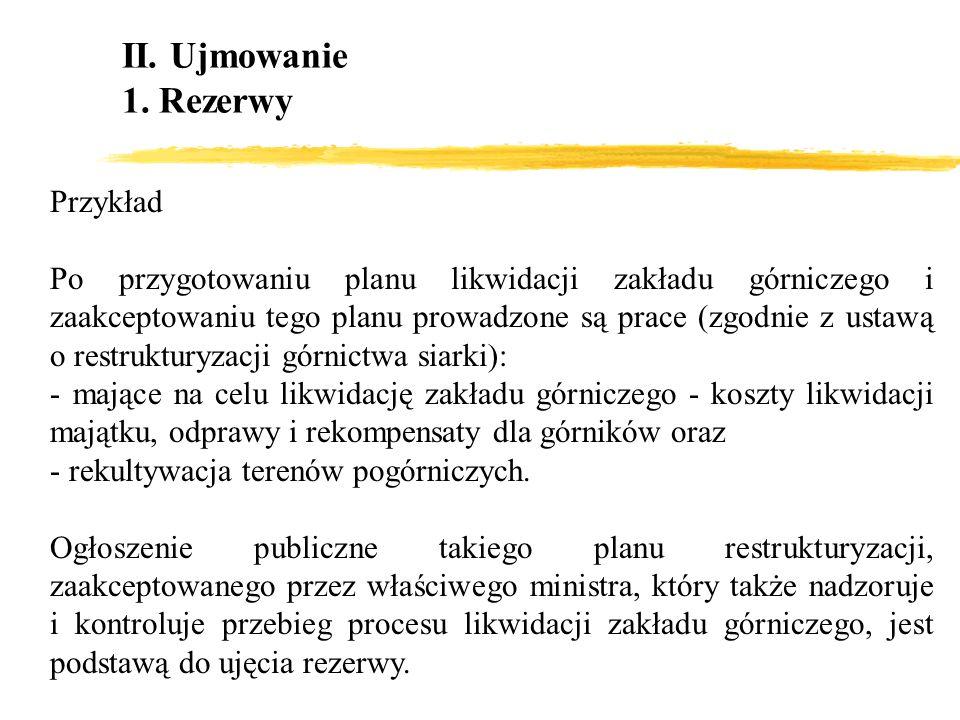 II. Ujmowanie 1. Rezerwy Przykład Po przygotowaniu planu likwidacji zakładu górniczego i zaakceptowaniu tego planu prowadzone są prace (zgodnie z usta