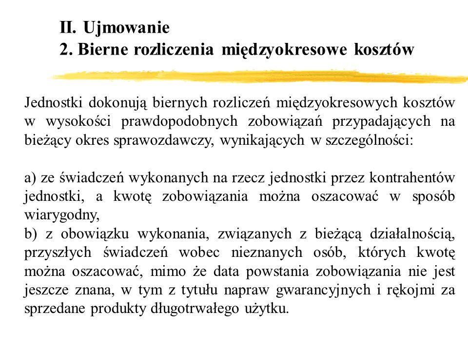 II. Ujmowanie 2. Bierne rozliczenia międzyokresowe kosztów Jednostki dokonują biernych rozliczeń międzyokresowych kosztów w wysokości prawdopodobnych