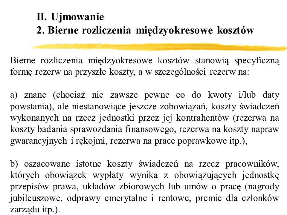 II. Ujmowanie 2. Bierne rozliczenia międzyokresowe kosztów Bierne rozliczenia międzyokresowe kosztów stanowią specyficzną formę rezerw na przyszłe kos