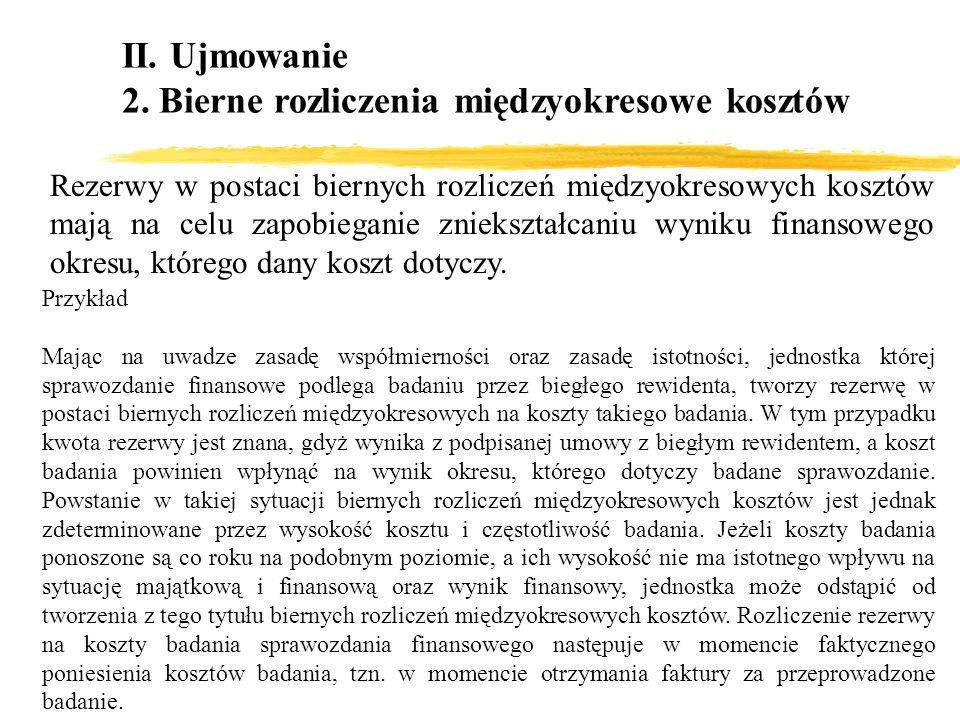 II. Ujmowanie 2. Bierne rozliczenia międzyokresowe kosztów Rezerwy w postaci biernych rozliczeń międzyokresowych kosztów mają na celu zapobieganie zni