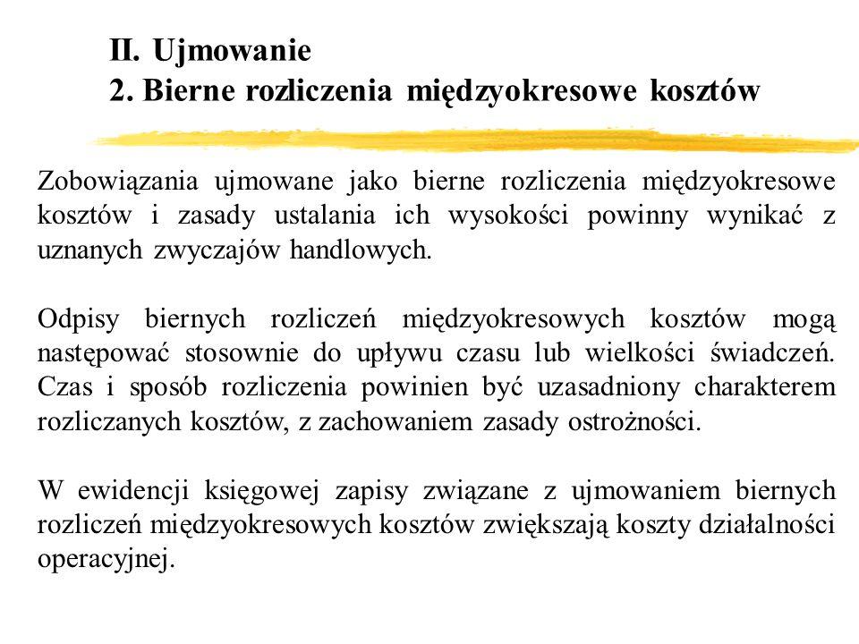 II. Ujmowanie 2. Bierne rozliczenia międzyokresowe kosztów Zobowiązania ujmowane jako bierne rozliczenia międzyokresowe kosztów i zasady ustalania ich