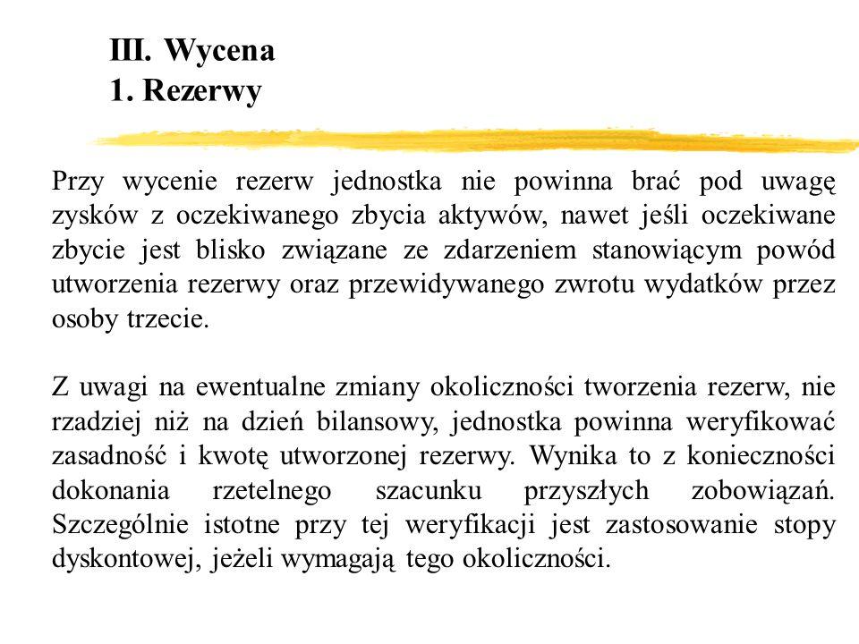 III. Wycena 1. Rezerwy Przy wycenie rezerw jednostka nie powinna brać pod uwagę zysków z oczekiwanego zbycia aktywów, nawet jeśli oczekiwane zbycie je