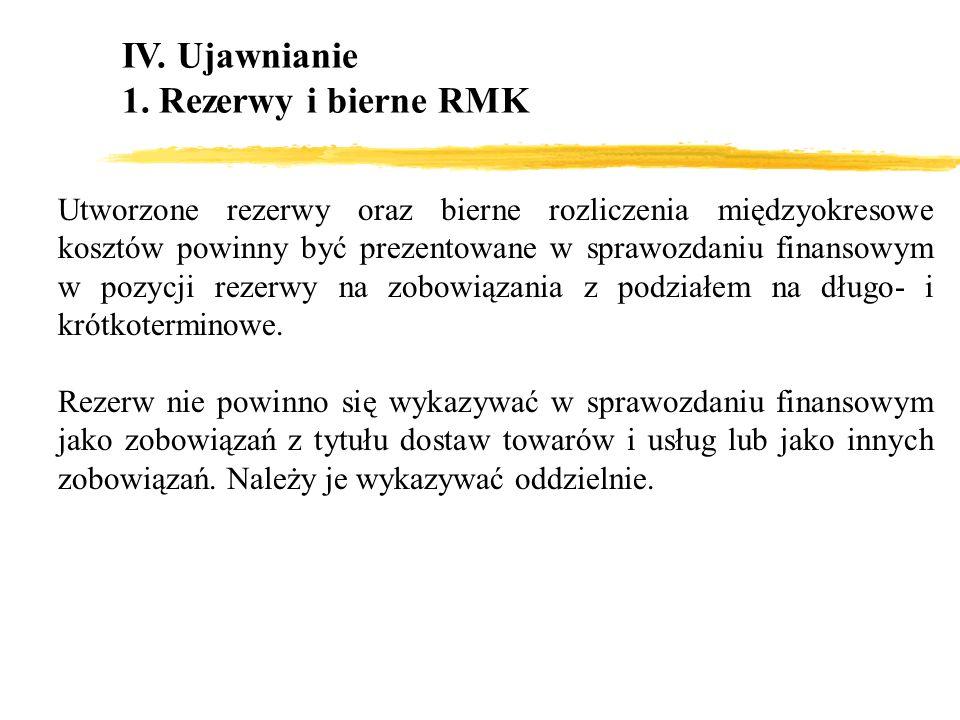 IV. Ujawnianie 1. Rezerwy i bierne RMK Utworzone rezerwy oraz bierne rozliczenia międzyokresowe kosztów powinny być prezentowane w sprawozdaniu finans