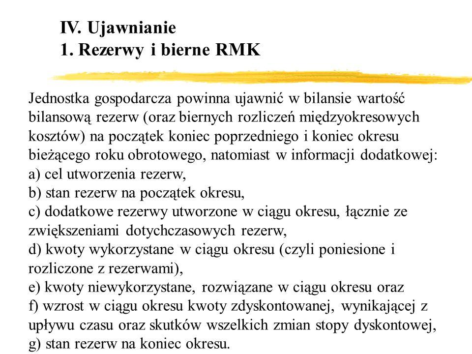IV. Ujawnianie 1. Rezerwy i bierne RMK Jednostka gospodarcza powinna ujawnić w bilansie wartość bilansową rezerw (oraz biernych rozliczeń międzyokreso