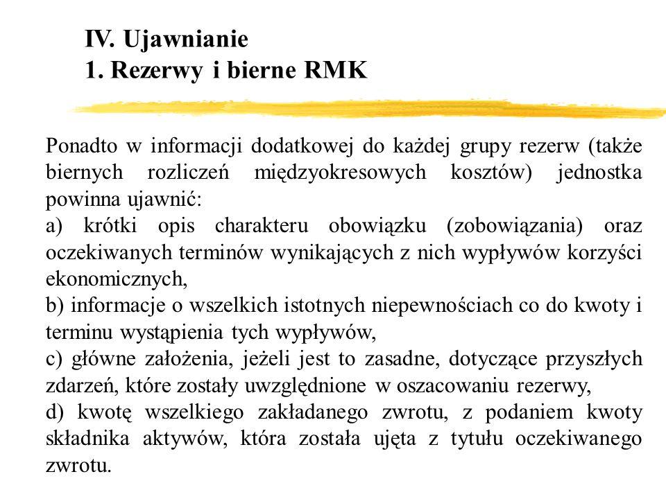 IV. Ujawnianie 1. Rezerwy i bierne RMK Ponadto w informacji dodatkowej do każdej grupy rezerw (także biernych rozliczeń międzyokresowych kosztów) jedn