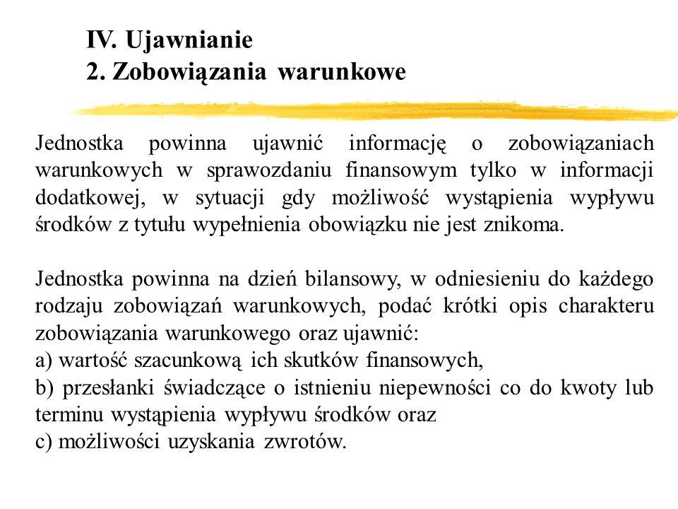 IV. Ujawnianie 2. Zobowiązania warunkowe Jednostka powinna ujawnić informację o zobowiązaniach warunkowych w sprawozdaniu finansowym tylko w informacj