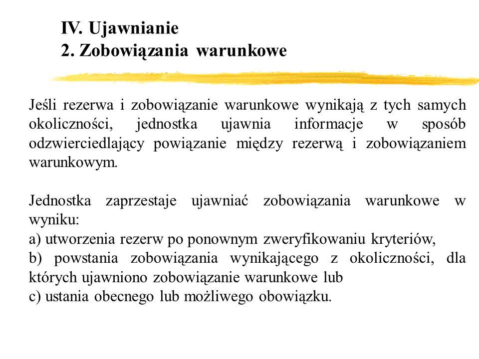 IV. Ujawnianie 2. Zobowiązania warunkowe Jeśli rezerwa i zobowiązanie warunkowe wynikają z tych samych okoliczności, jednostka ujawnia informacje w sp