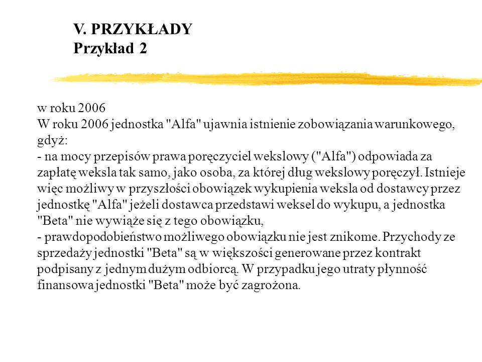 V. PRZYKŁADY Przykład 2 w roku 2006 W roku 2006 jednostka
