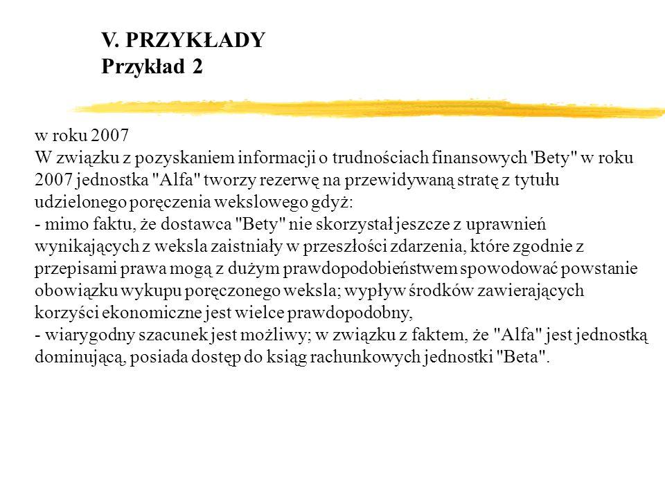 V. PRZYKŁADY Przykład 2 w roku 2007 W związku z pozyskaniem informacji o trudnościach finansowych 'Bety