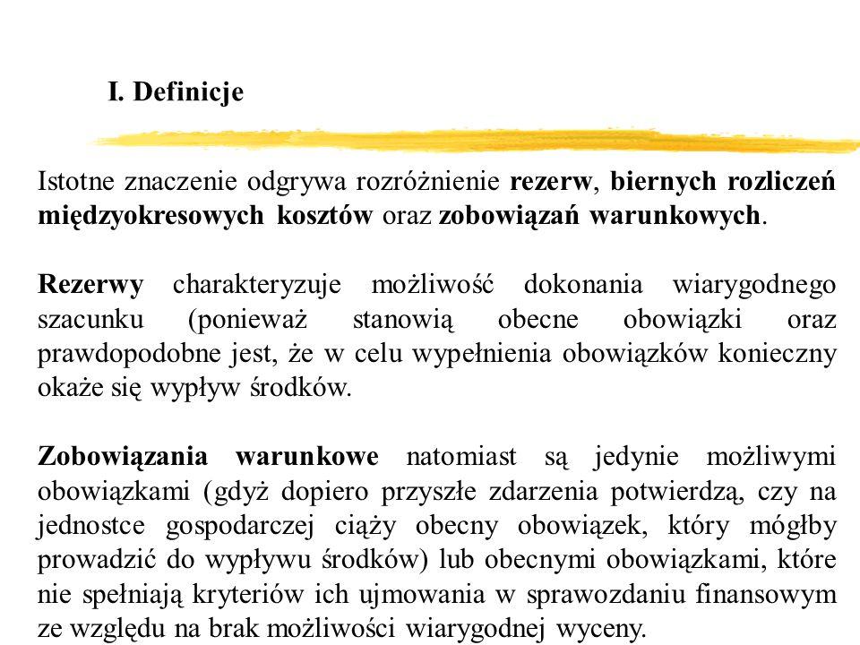 I. Definicje Istotne znaczenie odgrywa rozróżnienie rezerw, biernych rozliczeń międzyokresowych kosztów oraz zobowiązań warunkowych. Rezerwy charakter
