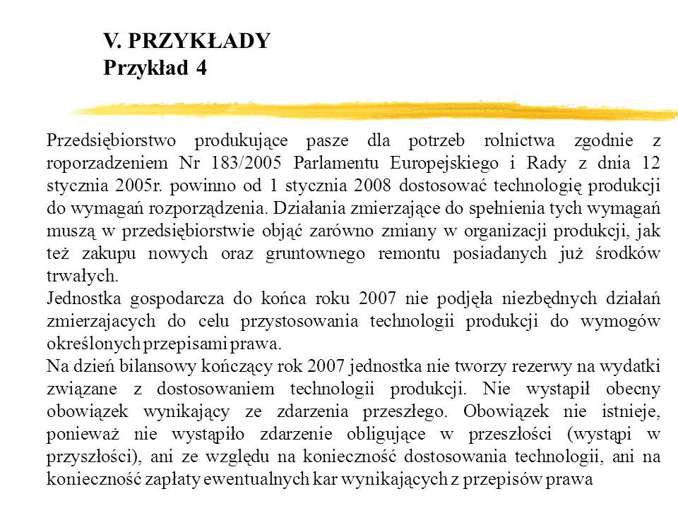V. PRZYKŁADY Przykład 4 Przedsiębiorstwo produkujące pasze dla potrzeb rolnictwa zgodnie z roporzadzeniem Nr 183/2005 Parlamentu Europejskiego i Rady