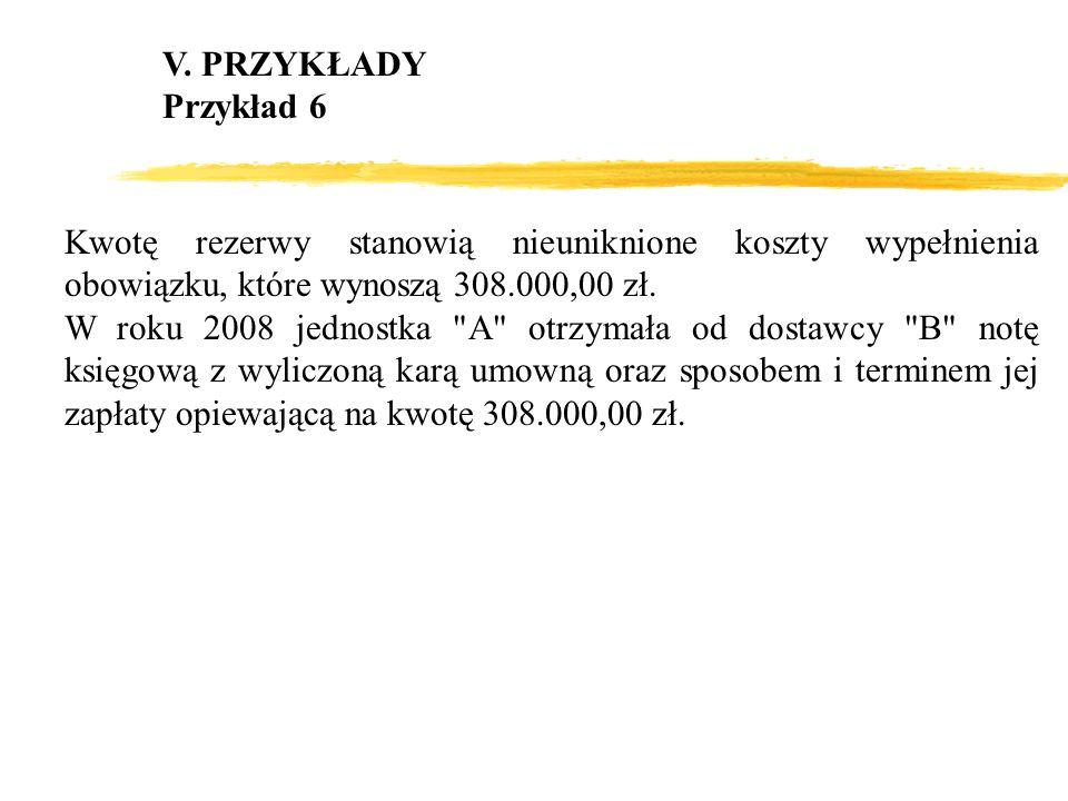 V. PRZYKŁADY Przykład 6 Kwotę rezerwy stanowią nieuniknione koszty wypełnienia obowiązku, które wynoszą 308.000,00 zł. W roku 2008 jednostka