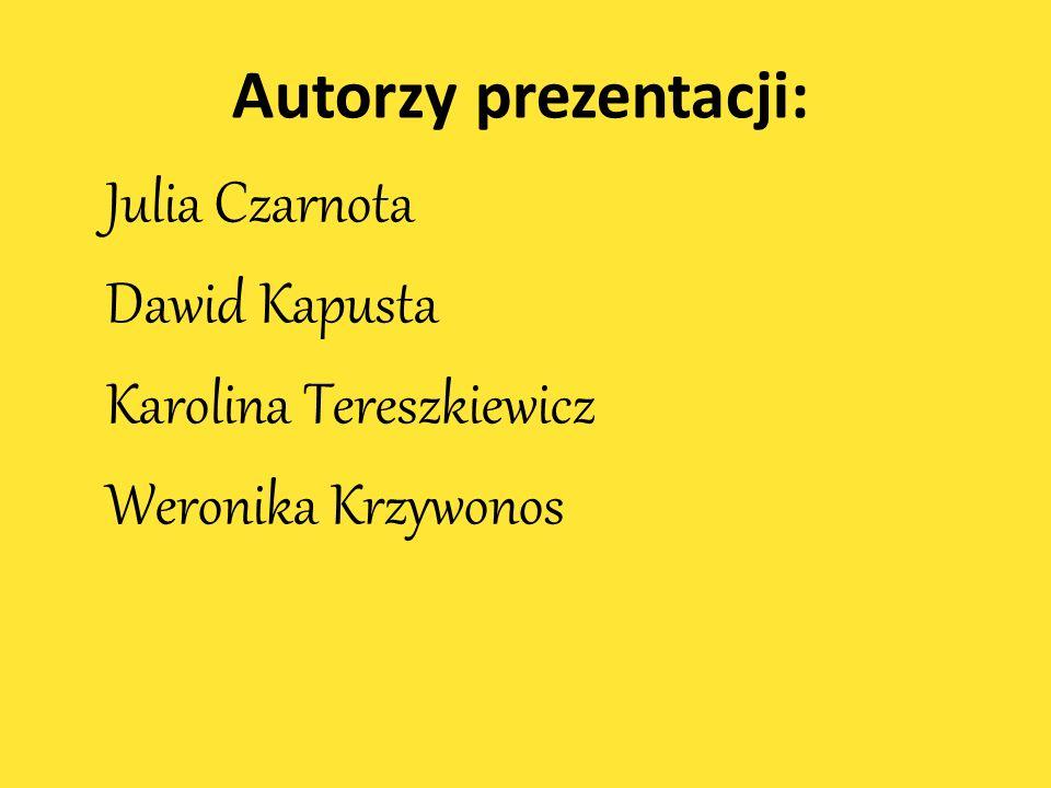 Bibliografia Autorzy prezentacji: Muzyka: Julia Czarnota http://www.youtube.com/watch?v=-ivmMcK5zaE Dawid Kapusta http://www.youtube.com/watch?v=xw_OE