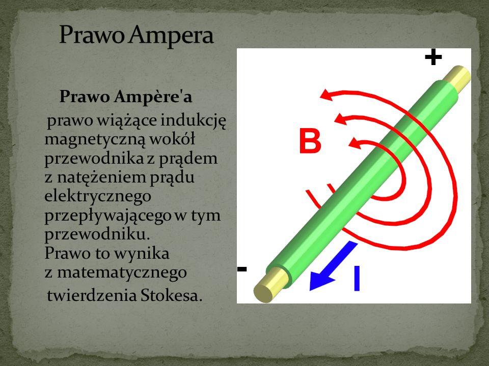 Prawo Ampère'a prawo wiążące indukcję magnetyczną wokół przewodnika z prądem z natężeniem prądu elektrycznego przepływającego w tym przewodniku. Prawo
