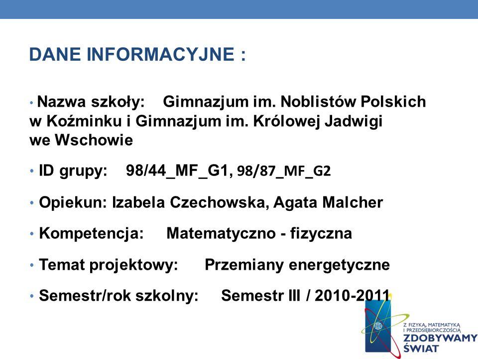 Podział energii Energia mechaniczna Energia potencjalna Energia kinetyczna grawitacjisprężystości