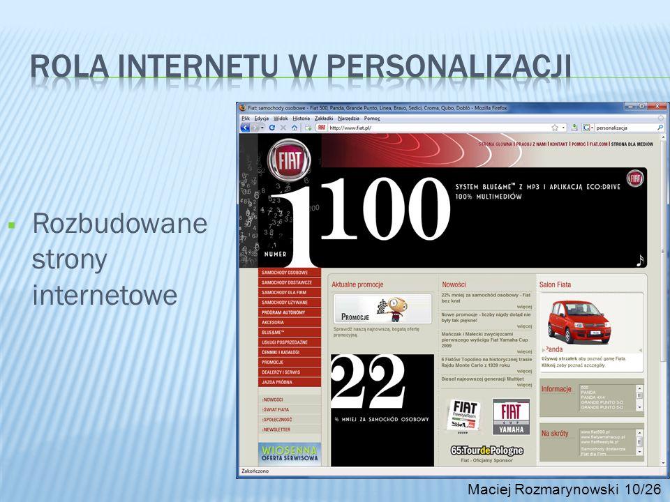 Maciej Rozmarynowski 10/26 Rozbudowane strony internetowe