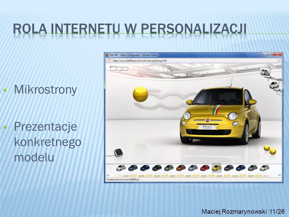 Maciej Rozmarynowski 11/26 Mikrostrony Prezentacje konkretnego modelu