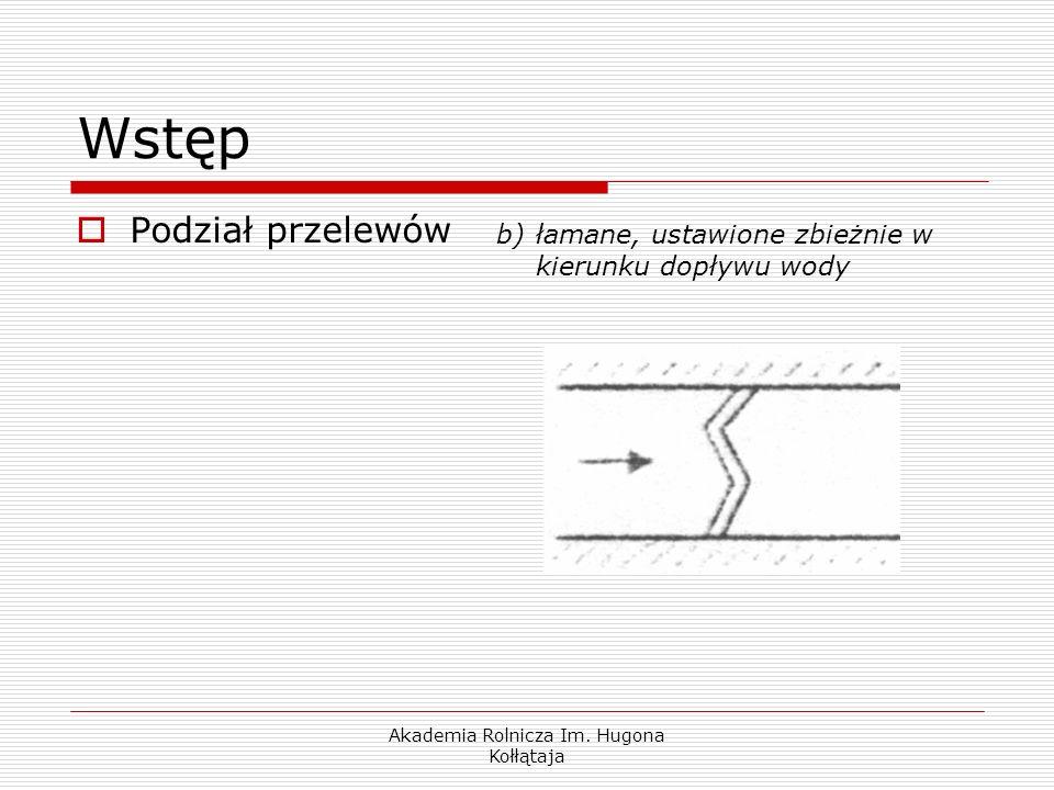 Akademia Rolnicza Im. Hugona Kołłątaja Wstęp Podział przelewów b)łamane, ustawione zbieżnie w kierunku dopływu wody